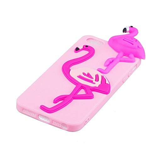 Coque iPhone 5S SE Cartoon Mignon 3D Crème Glacée, Solaxi Etui iPhone 5S Coque Souple TPU Housse de Protection Silicone Case Cover pour Apple iPhone 5 5S SE [Ultra Mince] [Anti-Choc] [Anti-Scratch] -  Rouge