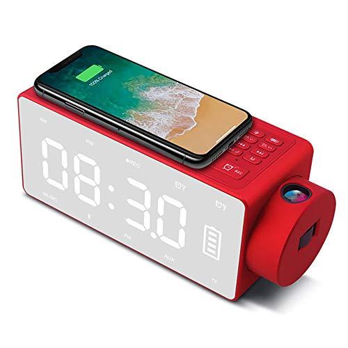 MLYDW AST Wireless Charger Bluetooth 4.2 Lautsprecher Kabelloser Ladestation Speaker Drahtloser Aufladenstandplatz Charger Projektionsalarm Wecker mit FM/Doppelter Alarm/Samsung/iPhone