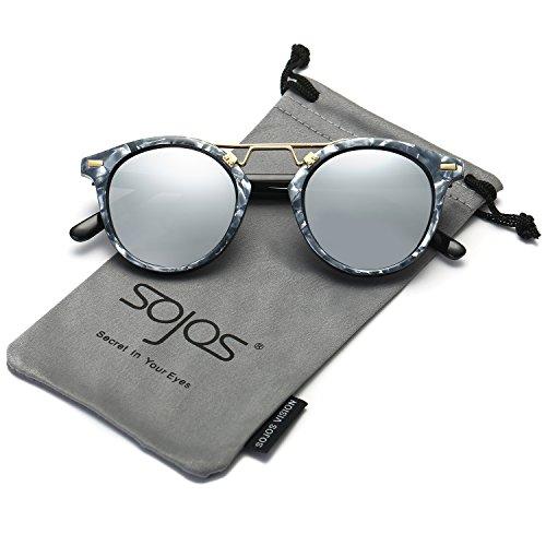 SojoS Alta Moda Occhiali da Sole Cerchio Rotondo per Uomini e Donne SJ2023 con Marmo Modello Telaio/Argento Lente
