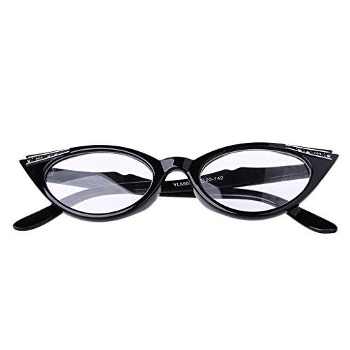 Damen Weinlese Katzenaugen Presbyopische Gläser Lesebrillen Katze Auge Vergrößern Lesebrille (Schwarz, 2.00)