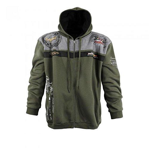 Modische Sweatshirt Jacke von Lavecchia in Khaki mit Kaputze in den Größen 3XL - 8XL (8XL) (Jacke Männer Khaki Für In)