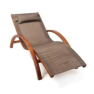 Ampel 24 Relax Liegestuhl Tropica | 100% wetterfeste Gartenliege | vorbehandeltes Holz | mit Armlehnen | Bezug braun