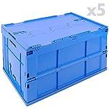PrimeMatik - Eurobehälter Kunststoff EuroBox klapp und stapelbarer. Stapelbox Blauer mit Deckel 60x40x32cm 5-Pack