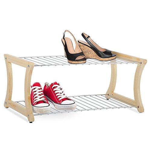 casa pura® Schuhregal Fiona | Massivholz und verchromter Stahl | Standsicherheit auch für kleinere Schuhe | 58 x 32 x 25 cm