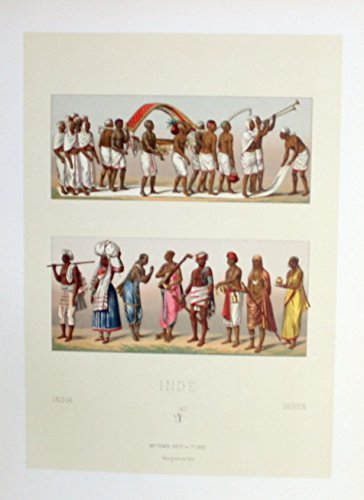 (Beerdigung funeral costumes Tracht Indien India Lithographie lithograph)