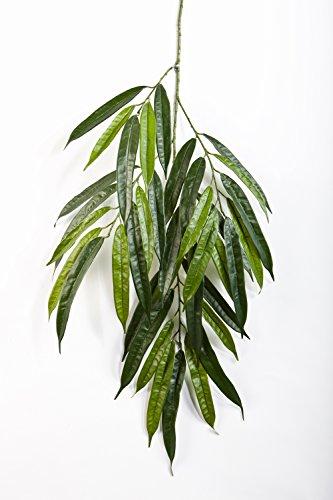 artplants Kunst-Longifoliazweig NILAY, 35 grünen Blättern, Deluxe, 65 cm – Kunstpflanze/Zweig künstlich