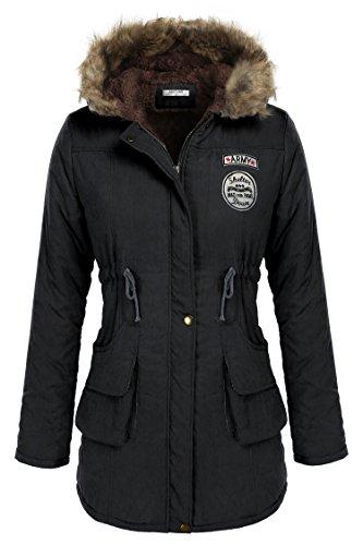 ANGVNS Damen Winter Jacke Parka lang Mantel Winterjacke Mit Fellkapuze Schwarz