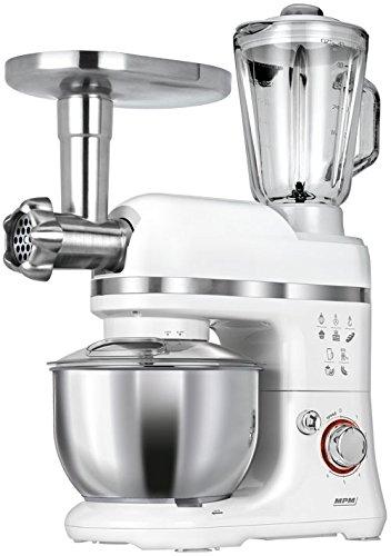 MPM MRK-15 - Robot de cocina multifunción con batidora amasadora, picadora de carne, batidora vaso, pasta, 1200w