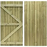 Feather Edge Flat Top Semi-Braced Strong Garden Gate Driveway Fence Wood Timber Available in 4 Sizes (180cm Tall x 75cm…