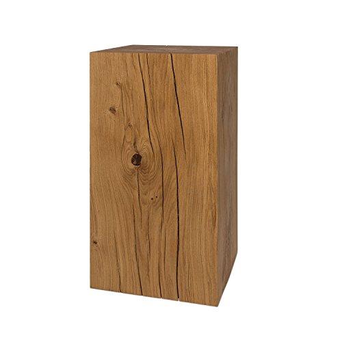 GREENHAUS Natürlich wohnen Dekosäule 20x20 cm Blumensäule deutsche Eiche Massivholz, handgefertigte Holzsäule und Blumen Podest (50) - Handgefertigte Massivholz