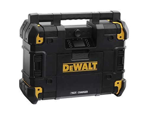 Dewalt Akku-Netz-Radio (passend zum T-Stak-Boxen-System, mit Ladestation, DAB+ und AM/FM-Baustellenradio, IP54, Betrieb über Akku oder 230-Volt-Anschluss, Lieferung ohne Akku) DWST-81078