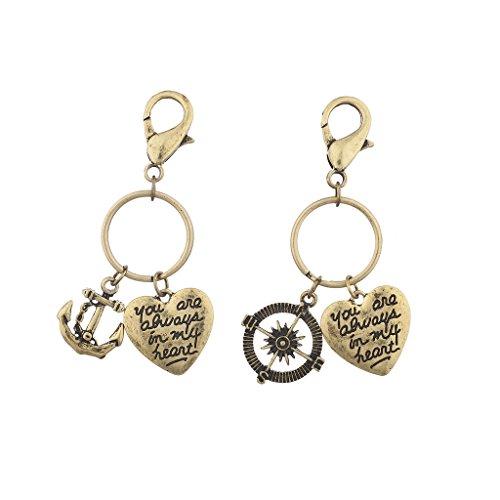Lux Zubehör Poliergold-Motiv, Always in My Heart Anhänger, Schlüsselanhänger, 2Stück - 1-dollar-schlüsselanhänger