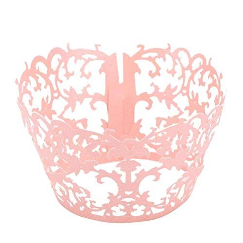 50 stücke Kuchen Spitze Tasse Schöne Aushöhlen Kuchen Wrapper for Zuhause Store Hochzeit (Rosa)