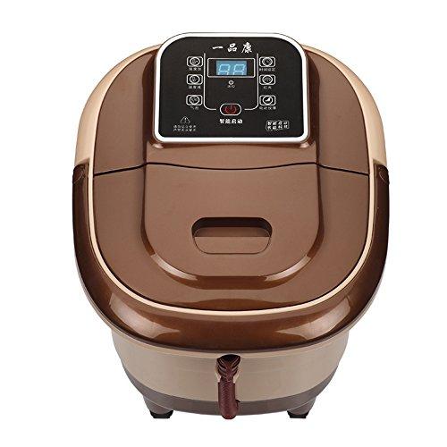 ZZHF Pied de bain Accueil massage automatique de pieds de massage Balai de chauffage Bassin de pieds électrique Barils profonds de bain de pied (Brown 4 table tournante) (370 * 450 * 380mm)