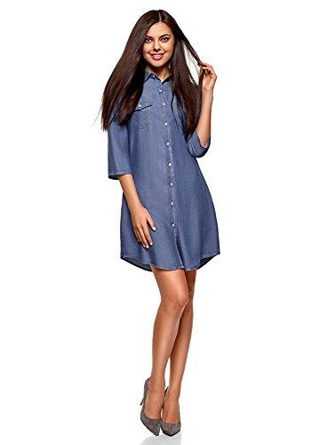 oodji Ultra Mujer Vestido Camisa de Lyocell, Azul, ES 34 / XXS