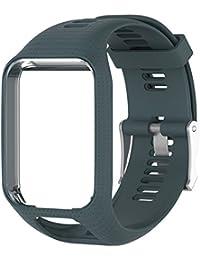 Favourall Correa de silicona de repuesto para reloj TomTom 2/3 serie GPS, deportivo, correa de silicona, color cian y azul