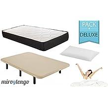 Pack Deluxe Descanso completo 150X190 (colchon + base tapizada + patas + almohada)
