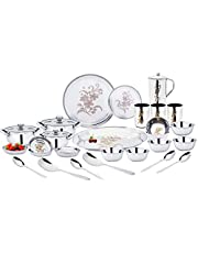 Uddhav Gold Collection Stainless Steel Heavy Classic Touch 51 pcs Dinner Set (Weight 10 kg) (51)