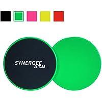 Deslizadores de tronco discos de deslizamiento verde lima eléctrico de Synergee. Uso de ambos lados en pisos de madera o alfombras. Equipo de ejercicio abodominal
