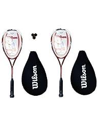 2 x 138 BLX Wilson Tour Lot de 2 raquettes de Squash avec balles de 3 Squash RRP £ 315