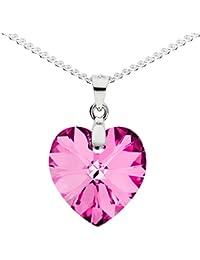 MYA art Kette Halskette 925 Sterling Silber mit Herz Anhänger Swarovski  Elements Kristall Stein Pink Rosa Damen Kinder Herzketten MYASIKET… 236495b480