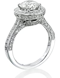 Zertifikat Klassischer 18 Karat (750) Weißgold Damen - Diamant Ring Round 2.52 Karat H-SI1 (Ringgröße 48-63)
