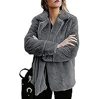 Keepwin Frauen Fleece Winter Warm Casual Open Fronted Jacke Mantel Faux Fur Taschen Oberbekleidung
