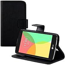 kwmobile Elegante funda de cuero sintético para el LG L Fino con cierre magnético y función de soporte en negro