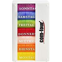 com-four® Medikamentendosierer 7 Tage Pillendose Pillenbox Tablettendose Tablettenbox Wochendosierer Morgens Mittags Abends (01 Stück - Weiß ohne Zubehör)