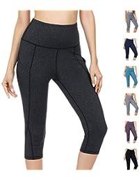 b495e153e1 WateLves Legging pour Femme Pantalon de Yoga Gym 3/4 Taille Haute Capri Course  à Pied Court Pantalon avec…
