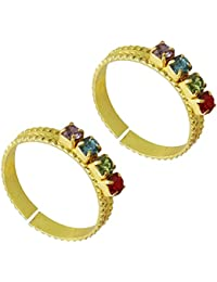 PCM- Toe Ring MultiColor Stone Gold Plated Toe Rings For Women