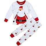 Rrimin Christmas 2pcs Unisex Baby Kids Santa Claus Printed Long Sleeve T-Shirt+Long Pants(7) (1-2Y)