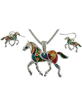 Hanessa Geschenk zu Weihnachten Süßes Pferde Schmuck-Set für Frauen Halskette und Ohrringe mit Pferd Tier-Anhänger...