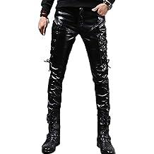 Idopy Hombres Steampunk Steampunk Lace Up Pantalones de cuero de PU Slim Fit