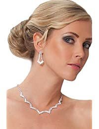 SEXYHER Schöne Halskette verziert mit Swarovski-Kristallen Klar und Ohrringe - TL0762