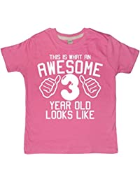 THIS WHAT AN AWESOME 3 YEAR OLD LOOKS LIKE Bubblegum Pink Girls 3nd Birthday T-shirt In Size 3-4 Years With A White Glitter Print
