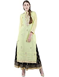Zoeyams Women's Lemon Georgette Gota Embroidery Long Straight Kurti