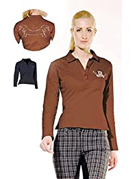 PFIFF Damen Poloshirt, langarm-braun-SS