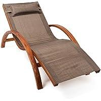 [Patrocinado]Ampel 24, Tumbona, silla de jardín TROPICA | 170x70cm | noble madera | con almohadilla