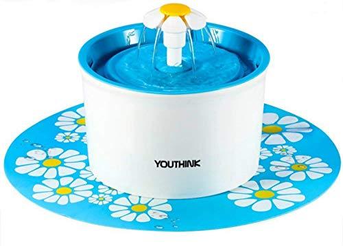Bebedero Automático Silencio, Fuente de Agua con 1.6L Circulante para Perros/Gatos con 3 Filtros 2 Margaritas 1 Estera de Silicona, Dispensador SIN BPA, Azul