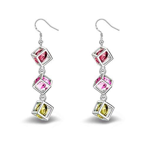Hosaire 1 Paar Ohrringe Damen Ohrhänger Cube Form Edelstahl-Stud Earring Mode Dangler