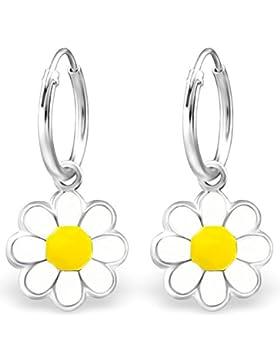 JAYARE Kinder-Creolen Gänseblümchen 925 Sterling Silber Emaille 22 x 10 mm weiß gelb Ohrringe