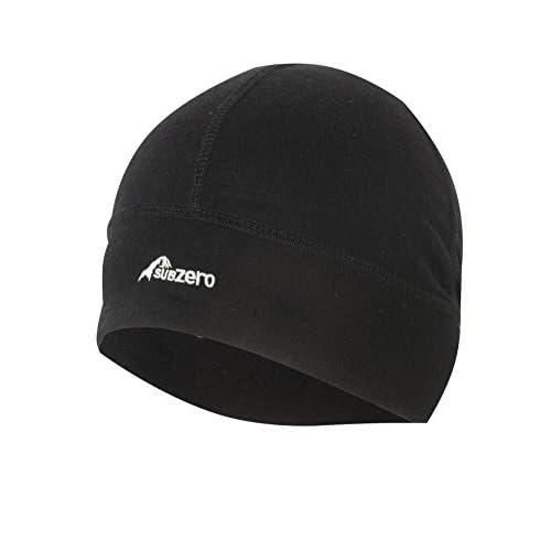 SUB ZERO Lightweight Thermal Insulating Warm Stretchy Merino Wool Winter Beanie Hat Black One Size