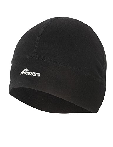 41I 0akFbaL - SUB ZERO Lightweight Thermal Insulating Warm Stretchy Merino Wool Winter Beanie Hat Black One Size