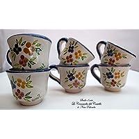 6 Tazzine da caffè Linea Fiori Misti Bordo Blu Realizzate e Dipinte a mano Le Ceramiche del Castello Made in Italy Dimensioni H 5,30 x L 8,20 cm. cadauna