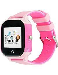 Reloj con GPS para niños SaveFamily Modelo Junior Acuático Rosa. Smartwatch con botón SOS, permite llamadas y mensajes. Resistente al agua Ip67. APP propia SaveFamily. Incluye Cargador