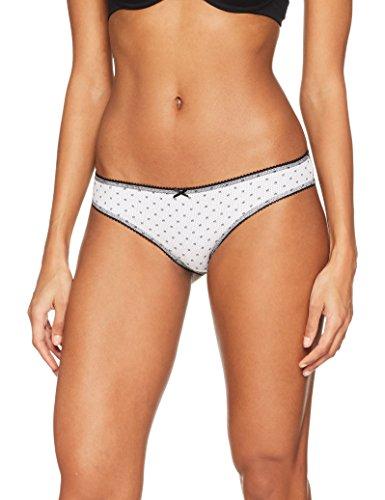 Iris & Lilly Damen Brasilian Slip Body Natural, Verschiedene Designs, 3er-Pack, Mehrfarbig (Floral Dot Print/Black), Large (Baumwoll-print-bikini)