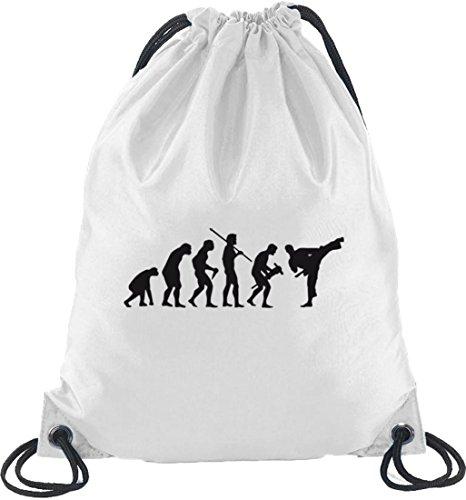 Shirtstreet24, EVOLUTION JUDO, Kampfsport Karate Turnbeutel Rucksack Sport Beutel Weiß