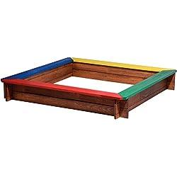 dobar 94305FSC carré de bac à Sable avec 4assises en FSC zertifiz iertem Pin, env. 117x 117x 18cm, Multicolore
