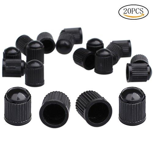 Wowot confezione da 20tappi antipolvere per valvole pneumatici, in plastica, per auto, moto, camion, biciclette (nero)